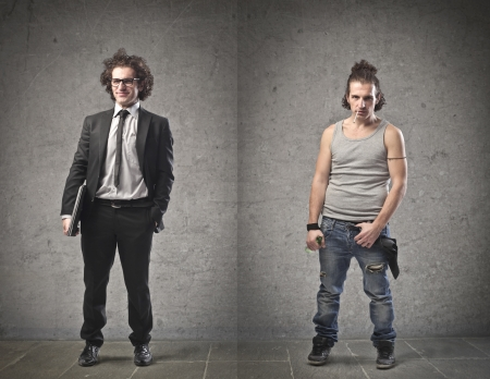 good and bad: Businessman and unemployed compared