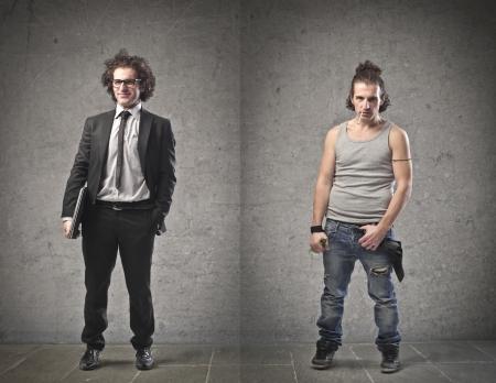umschwung: Gesch�ftsmann und Arbeitslose im Vergleich Lizenzfreie Bilder