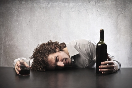 Man drunk with red wine Stock Photo - 15662599