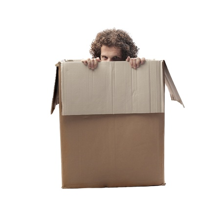 claustrophobic: Man hiding in a box