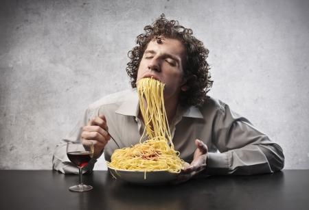 ironic: Man eating too many spaghetti