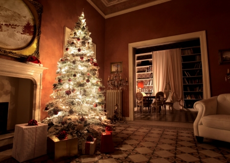 beautiful Christmas tree illuminated with gift boxes in large living room photo