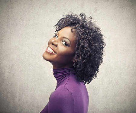 black woman face: portrait of beautiful black woman smiling