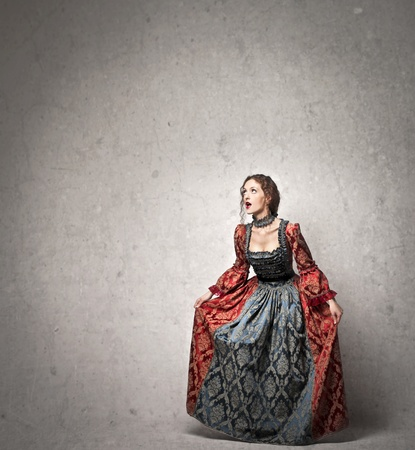 stupor: beautiful lady of the eighteenth century on a gray background Stock Photo
