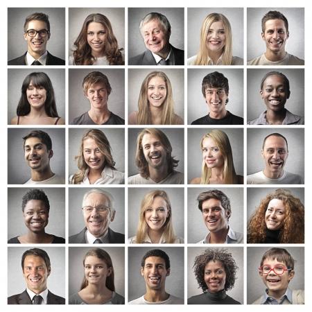 people: retrato em mosaico de pessoas felizes