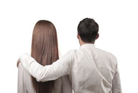 head shoulders: couple hugging shot from behind Stock Photo