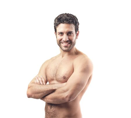 nude man: muscular handsome man on white background