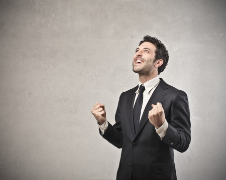 jubilate: businessman happy with his success Stock Photo