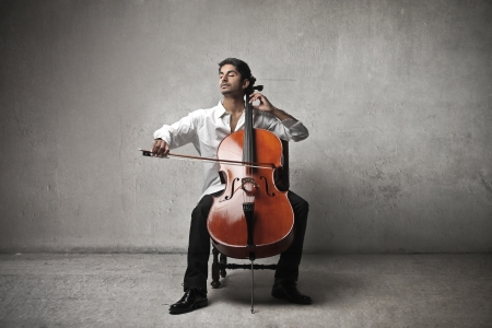 passion: musician plays violoncello