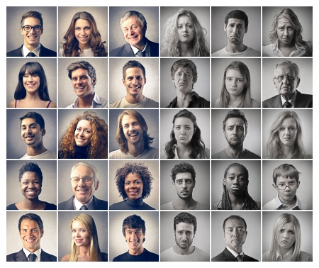 POSITIVE NEGATIVE: mosaic portraits people happy and sad Stock Photo