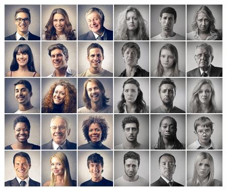 mozaikowe portrety ludzi szczęśliwych i smutnych