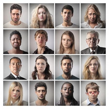 gente triste: retratos mosaico tristes personas Foto de archivo