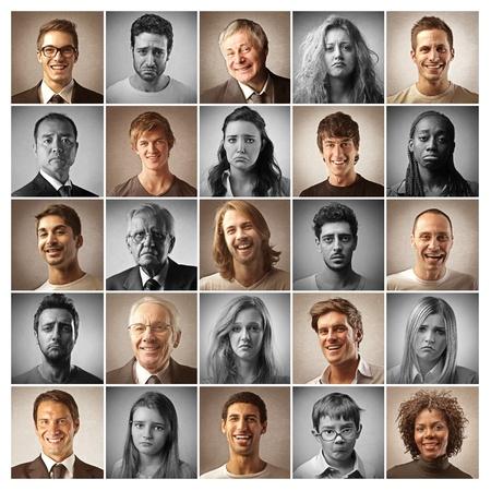 optimismo: mosaico de gente feliz y triste retratos