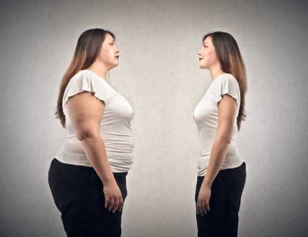 weighty: obese youn woman and slim young woman