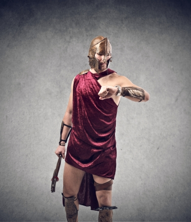 anachronistic: warrior with ax looking watch