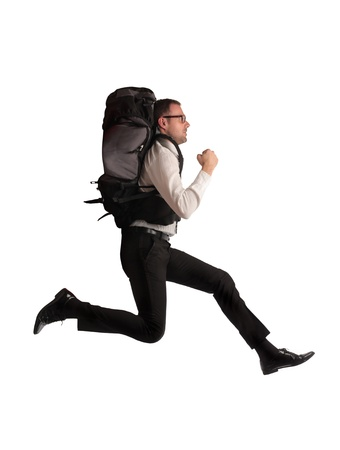 businessman running with backpack Stock Photo - 17765951