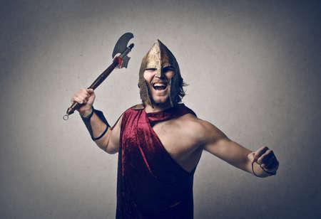 ax: warrior with ax Stock Photo