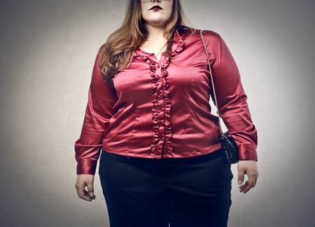 overweight woman elegant dressed  photo