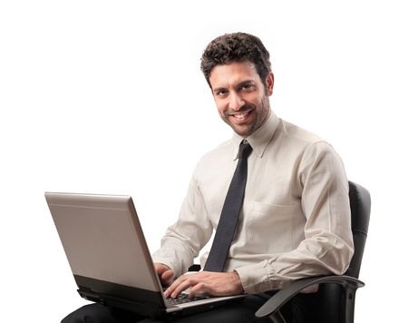 handsome businessman with laptop photo