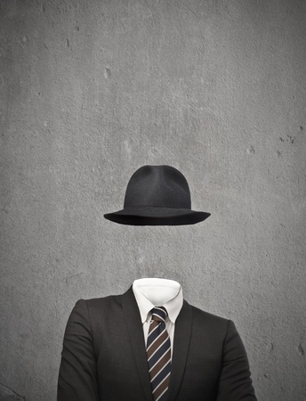 hide: invisible businessman with hat