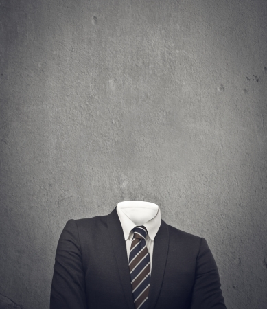 hollow walls: invisible businessman on gray background