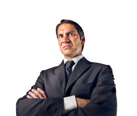 disgusted: disgusted businessman on white background