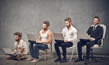 e commerce: evolution of man in career Stock Photo