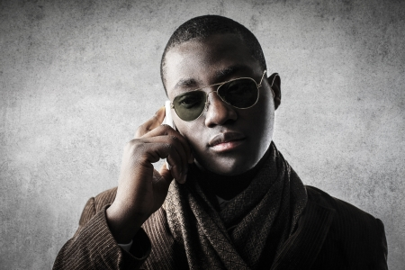 black businessman calling photo