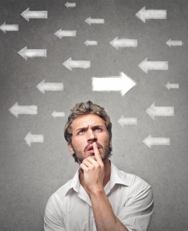 consider: doubtful man looks up