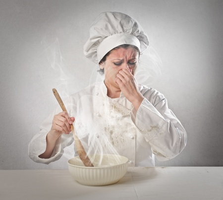 chef cooks a bad meal Stock Photo - 18529652
