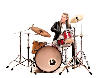 drummer: musician playing drums