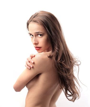 naked girl body: beautiful nude woman turned back Stock Photo