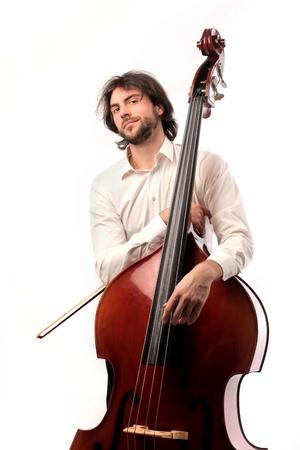 bass player: man holding a double bass Stock Photo