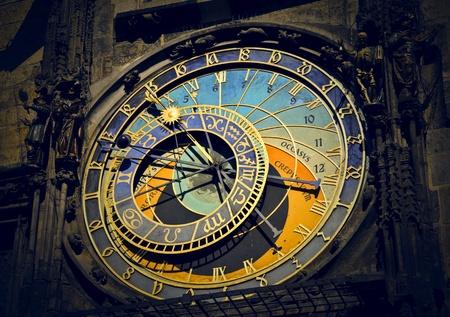 timepiece: clock of a church in Prague Stock Photo