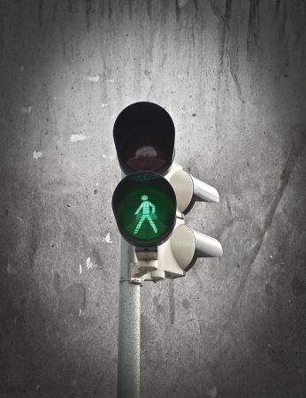 trafficlights with the green spot on photo