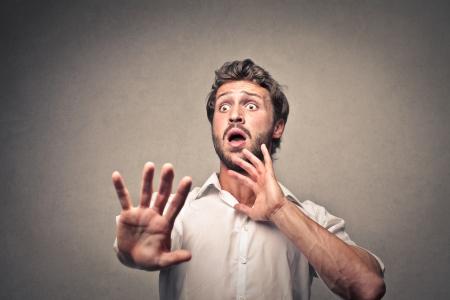 aversion: scared man