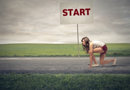 woman being about to start running photo