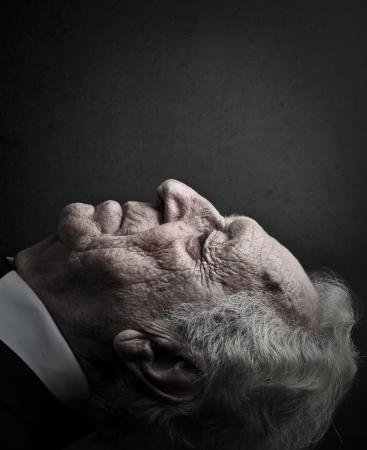 senior closing his eyes  photo