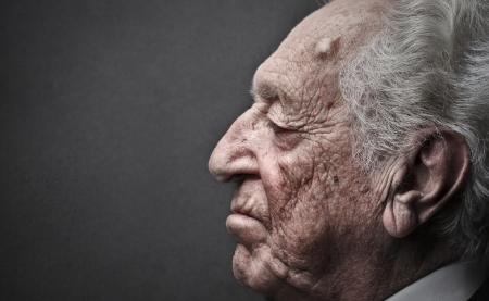 eyes closing: old man closing his eyes