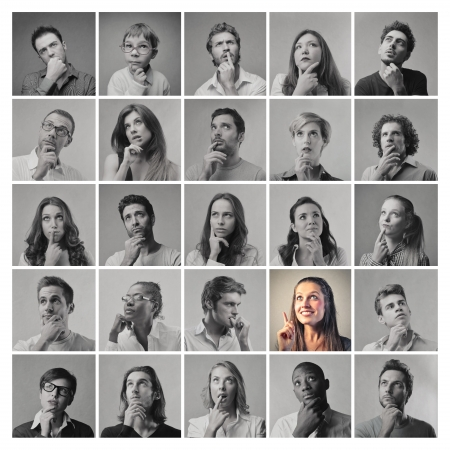portraits of men and women thinking in black and white apart from one photo