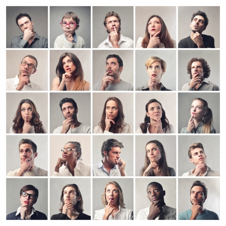 portraits of men and women thinking Standard-Bild