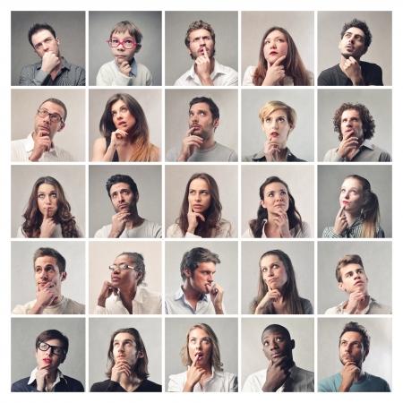 caras: retratos de hombres y mujeres pensantes Foto de archivo