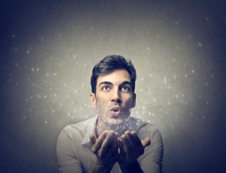 마법의: 사람 불어 스톡 사진