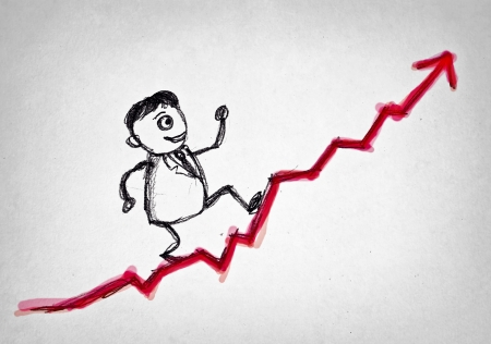 uphill: hand drawing man walking to the top Stock Photo