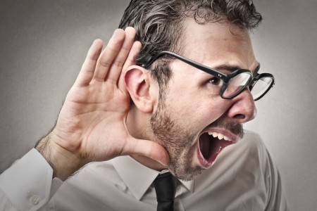 stupor: man listening to something