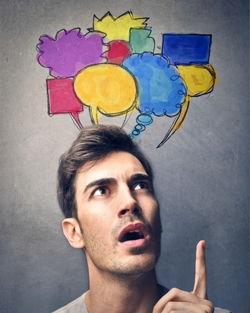 different thinking: man thinking lots of different things
