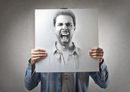 anger: screaming portrait of a man