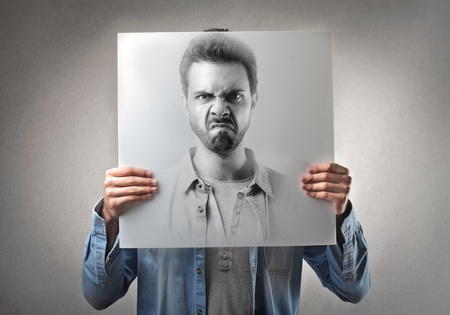 bad color: angry portrait of a man