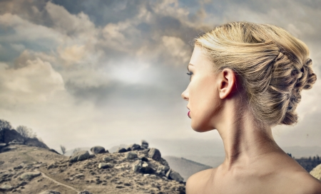 woman neck: woman looking at somewhere Stock Photo