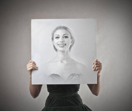 cartel: happy girl portrait Stock Photo